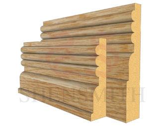 reeded 3 Oak Skirting Board