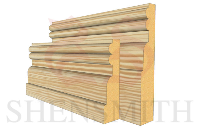 reeded 2 profile Pine Skirting Board