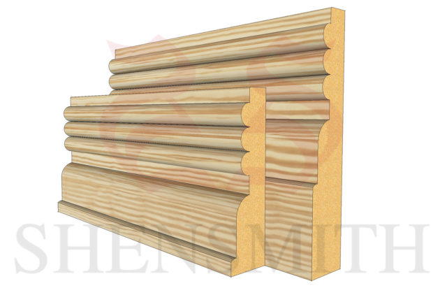 reeded 3 profile Pine Skirting Board